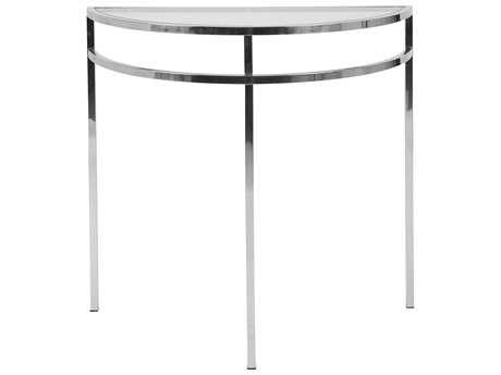 Kenroy Home Nolan 32''L x 14''W Demilune Polished Stainless Steel Console Table