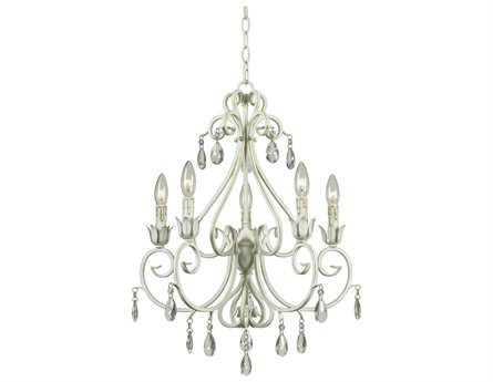 Kenroy Home Chamberlain Weathered White Five-Light 8'' Wide Chandelier