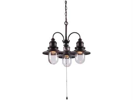 Kenroy Home Broadcast Oil Rubbed Bronze with Copper Highlights Three-Light 9'' Wide Outdoor Mini Chandelier