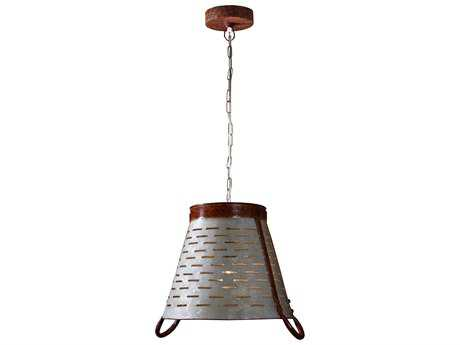 Kenroy Home Olive Galvanized Metal 16'' Wide Pendant Light