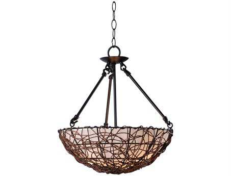 Kenroy Home Thicket Rattan Three-Light Semi-Flush Mount