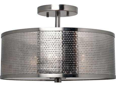 Kenroy Home Mesha Brushed Steel Three-Light 14'' Wide Semi-Flush Mount Ceiling Light