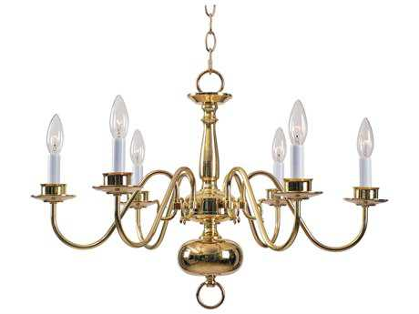 Kenroy Home William Polished Brass Six-Light 25'' Wide Chandelier