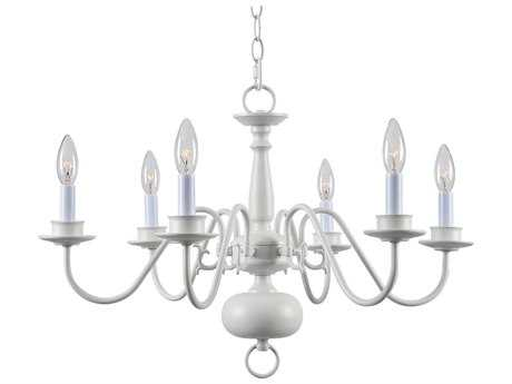 Kenroy Home William White Six-Light 25'' Wide Chandelier