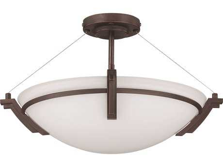 Kendal Lighting Portobello Oil Rubbed Bronze with White Glass Three-Light 19'' Wide Semi Flushed Light