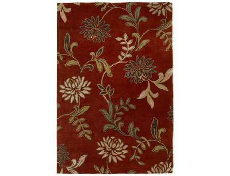 KAS Rugs Florence Red Floral Area Rug