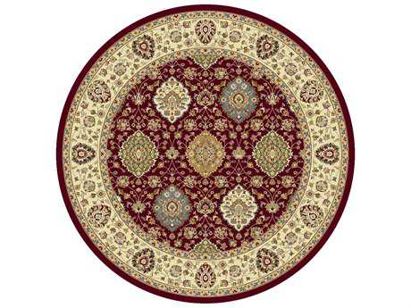 KAS Rugs Kingston Ruby & Ivory 7'7''X 7'7'' Round Area Rug