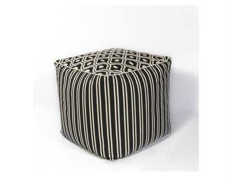 KAS Rugs Black & White Groove Cube Pouf
