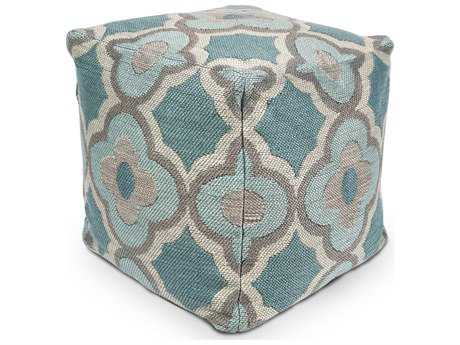 Kas Rugs Grey & Blue Cube Pouf