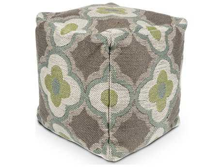 Kas Rugs Taupe & Sage Cube Pouf