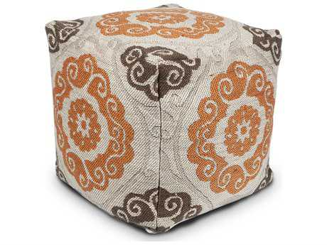 Kas Rugs Ivory & Brown Cube Pouf