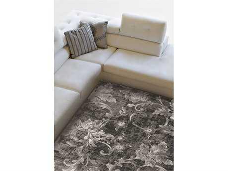 Kalora Platinum Frozen Vines Rectangular Gray Area Rug