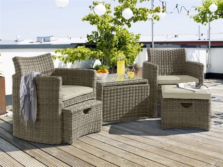 Kettler Cupido Wicker Cushion Lounge Set in Canvas Ash