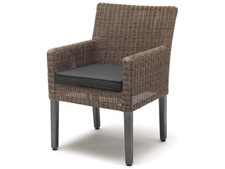 Kettler Bretange Aluminum Wicker Chair with Canvas Coal Cushions