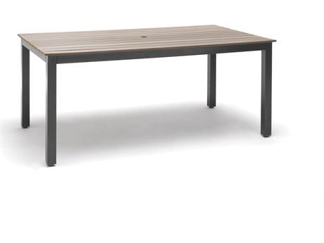 Kettler Bretange Alauminum 71 x 39 Rectangular Poly Dining Table with Umbrella Hole PatioLiving
