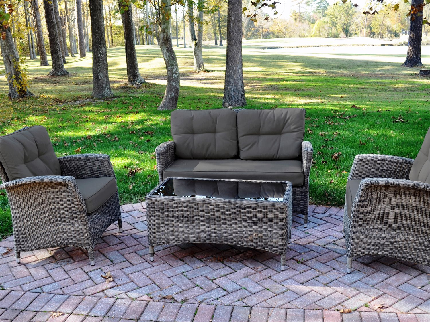 kettler lakena aluminum wicker lounge set with cushions 304430 2000k1cc. Black Bedroom Furniture Sets. Home Design Ideas
