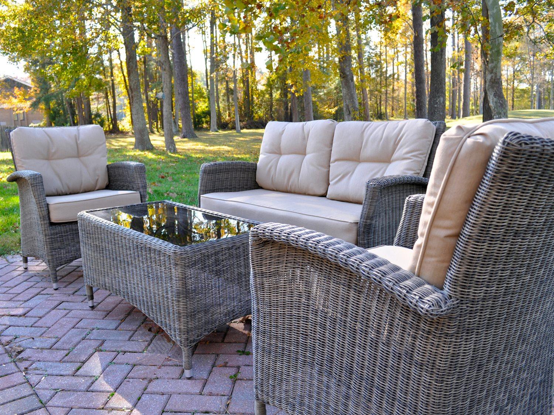 kettler lakena aluminum wicker lounge set with cushions. Black Bedroom Furniture Sets. Home Design Ideas