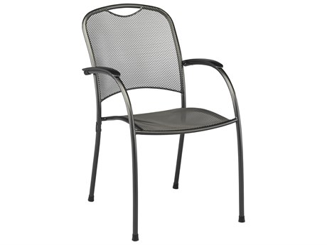 Kettler Monte Carlo Wrought Iron Gray Dining Arm Chair PatioLiving