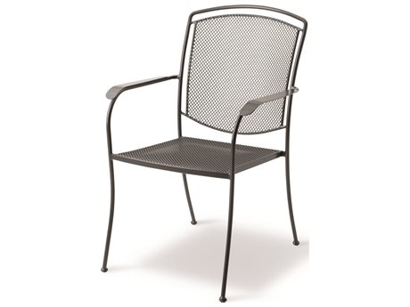 Kettler Henley Wrought Iron Gray Dining Arm Chair PatioLiving