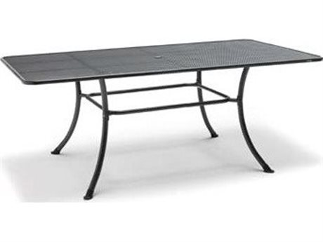 Kettler Mesh Top Steel Gray 57''W x 35''D Rectangular Dining Table with Umbrella Hole PatioLiving