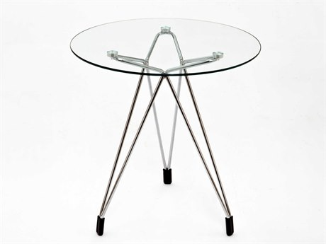 Kubikoff Diamond Clear / Chrome 20'' Round End Table