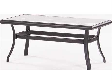 Koverton Parker Aluminum 42 x 21 Rectangular Clear Glass Coffee Table