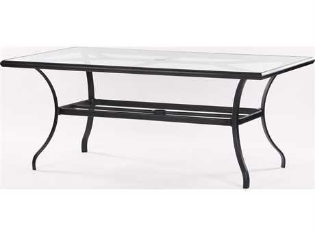 Koverton Parker Aluminum 72 x 42 Rectangular Clear Glass Dining Table