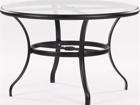 Koverton Parker Aluminum 42 Round Clear Glass Dining Table
