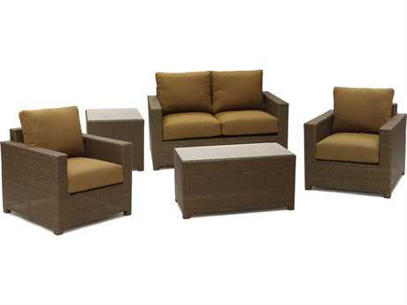 Koverton Metro Wicker 5pc Deep Seating with Sunbrella Canvas Teak