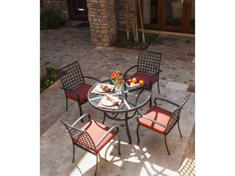 Koverton Parker Aluminum 5 Piece Round Dining Table Set - Sunbrella Canvas Henna