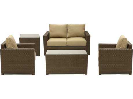 Koverton Metro Wicker Five Piece Deep Seating Set - Sunbrella Heather Beige Cushions
