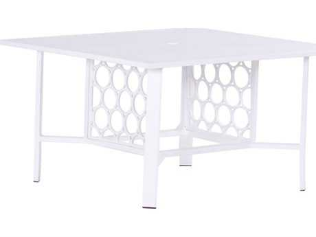 Koverton Parkview Cast Aluminum 42'' Wide Square Chat Table with Umbrella Hole