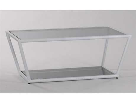 Koverton Linear Extruded Aluminum & Steel 46''W x 30''D Rectangular Coffee Table with Glass