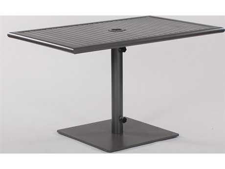Koverton Linear Extruded Aluminum & Steel 48 x 32 Rectangular Pedestal Dining Table