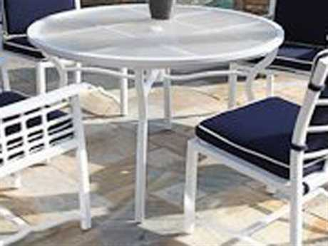 Koverton Evans Cast Aluminum 48'' Wide Round Dining Table with Umbrella Hole