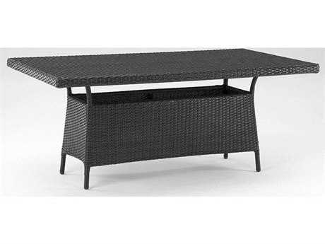Koverton Soho Wicker & Glass Top 72''W x 42''D Rectangular Dining Table with Umbrella Hole