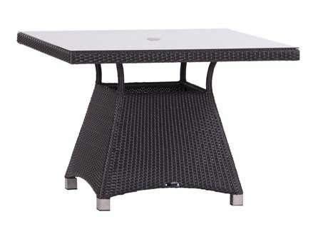 Koverton Soho Wicker & Glass Top 42'' Wide Square Dining Table with Umbrella Hole
