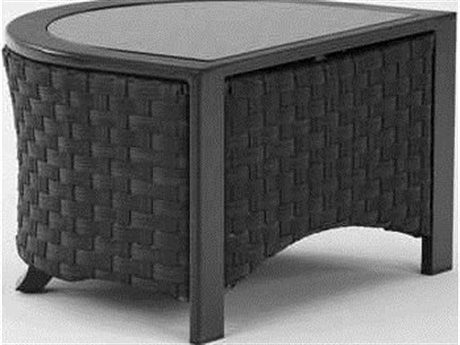 Koverton Luxe U-Shaped Cast Aluminum 30''W x 24''D Side Table with Glass