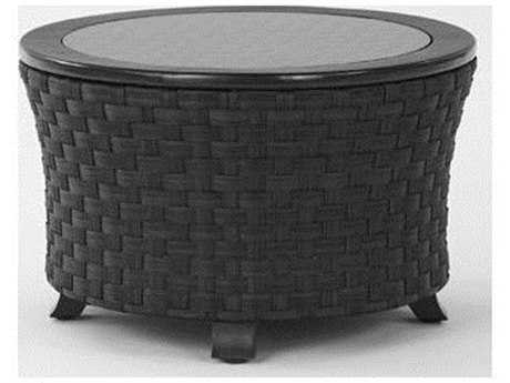 Koverton Luxe Cast Aluminum 30'' Wide Round Side Table with Glass