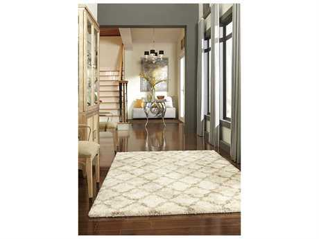 Karastan Rugs Prima Shag Temara Rectangular Cream & Lattice Brown Area Rug