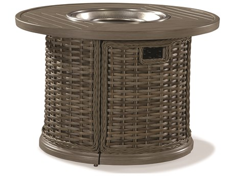 Lane Venture St. Simons Driftwood Wicker 36''Wide Round Gas Fire Pit Table