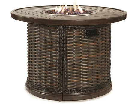 Lane Venture South Hampton Wicker 42''Wide Round Gas Fire Pit Table