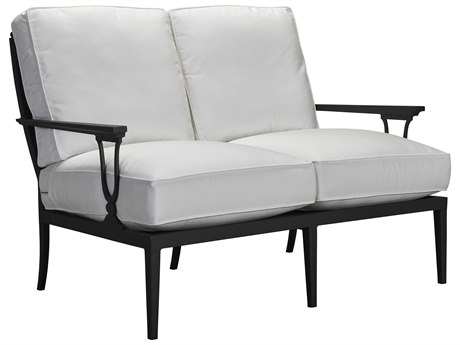 Lane Venture Winterthur Obsidian Black Aluminum Loveseat Mesh Back
