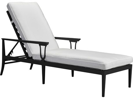 Lane Venture Winterthur Obsidian Black  Aluminum Adjustable Chaise Lounge Mesh Back