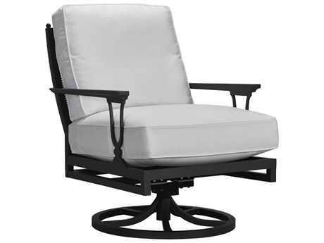 Lane Venture Winterthur Obsidian Black Aluminum Swivel Rocker Mesh Back