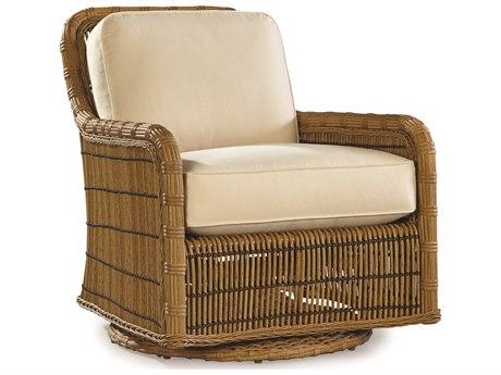 Lane Venture Rafter by Celeri Kemble Straw Wicker Swivel Glider Lounge Chair