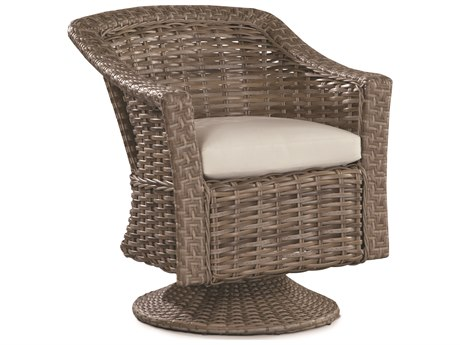 Lane Venture St. Simons Driftwood Wicker Swivel-Tilt Dining Chair