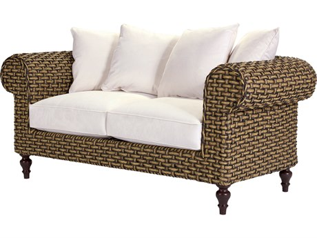 Lane Venture Hemingway Rich Tobacco Wicker Chesterfield Loveseat