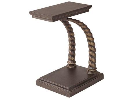 Lane Venture Hemingway Rich Walnut Cast Aluminum Elk Horn 21''W x 15''D Rectangular Accent Table with Casters PatioLiving