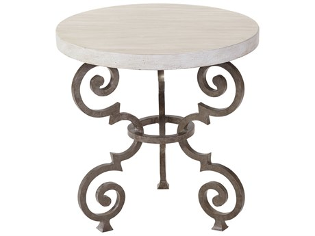 Lane Venture Ernest Hemingway Aged Gun Cast Wrought Iron Florentine 24''Wide Round End Table